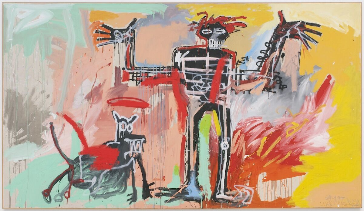 Jean-Michel Basquiat, Boy and Dog in a Johnnypump, 1982, acrylic on canvas. © Estate of Jean-Michel Basquiat, licensed by Artestar, New York.