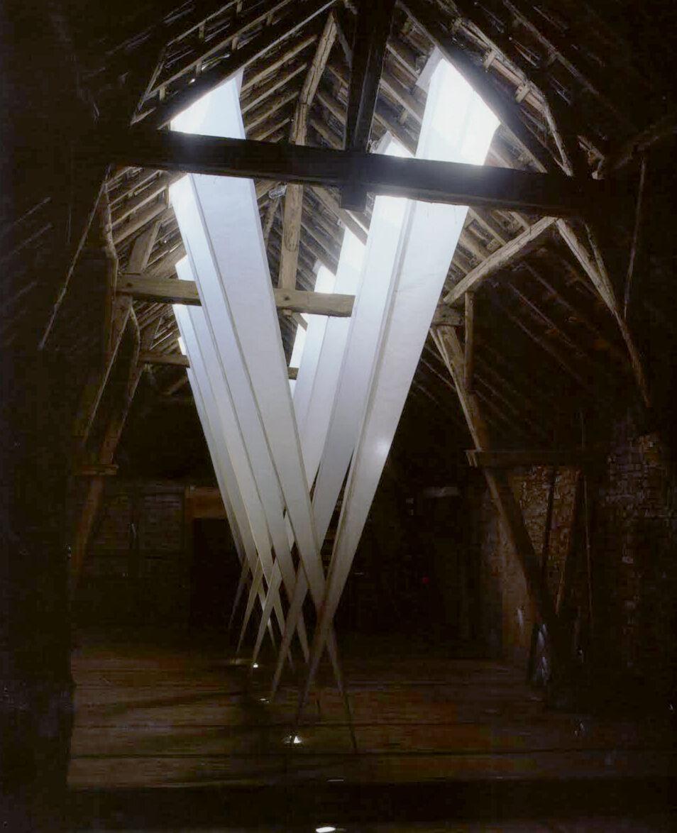 "Annette Sauermann, Lichtfallen (""Light Traps""), 1990Paper and wire frame, 217 x 24 x 16 inchesCourtesy C. Grimaldis Gallery and the artist."