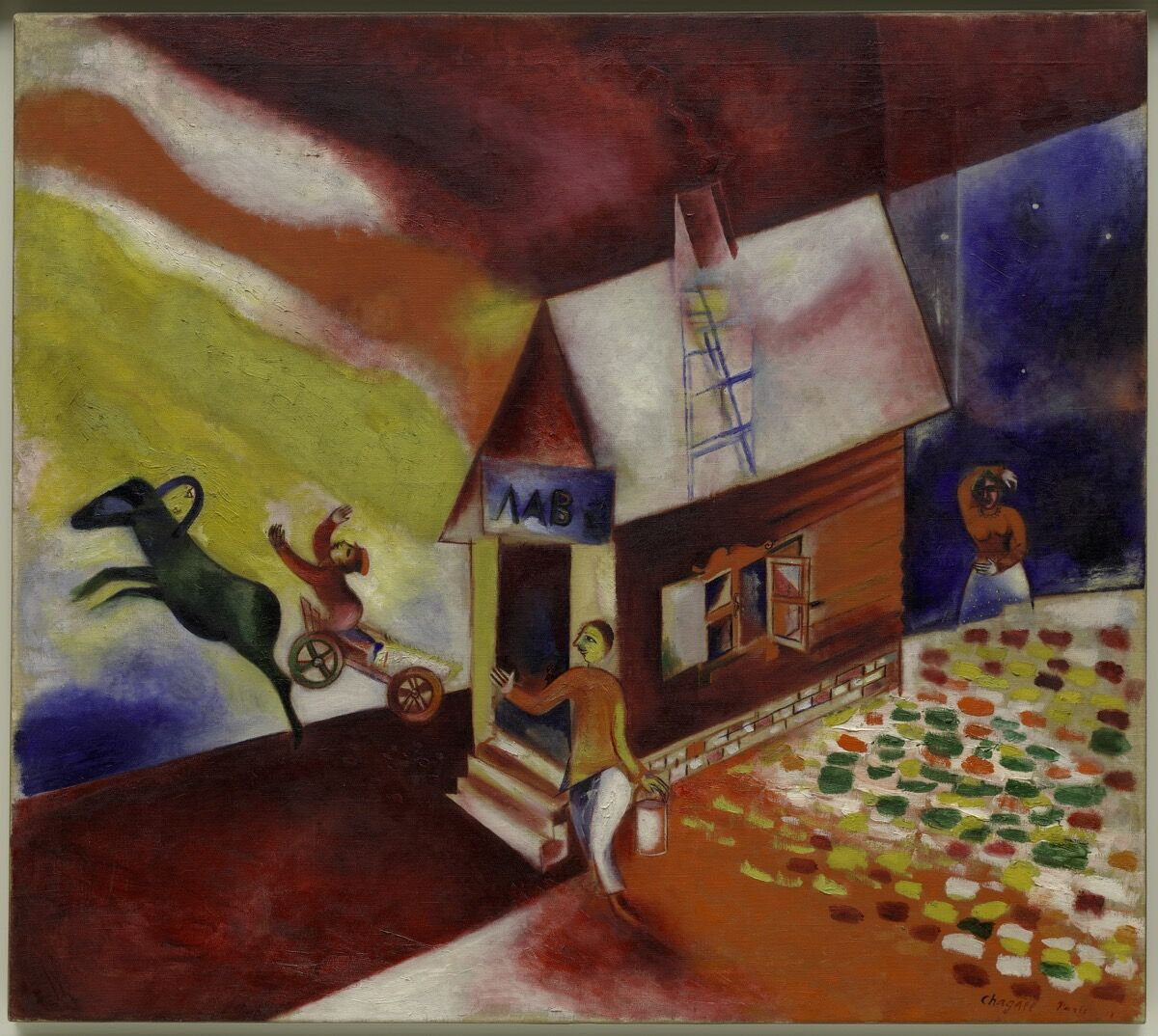 Marc Chagall, The Flying Carriage (La calèche volante), 1913.© Marc Chagall, Vegap, Bilbao 2018. Courtesy of the Guggenheim Bilbao.