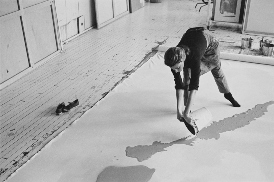 Helen Frankenthaler at work on a large canvas, 1969. Photo by Ernst Haas. Ernst Haas/Getty Images