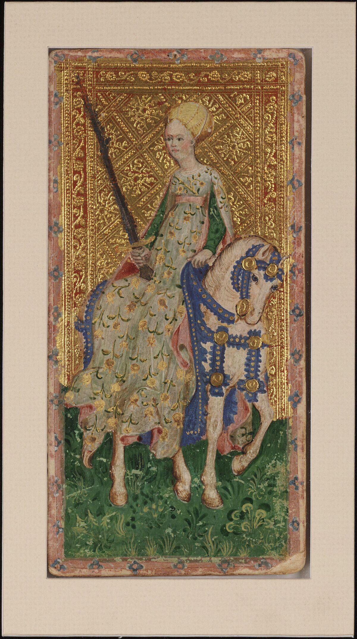 Bembo Bonifacio, Female Knight (Swords), 1428-1447. Visconti Tarot from the Cary Collection of Playing Cards.Courtesy of the Beinecke Rare Book & Manuscript Library at Yale University.