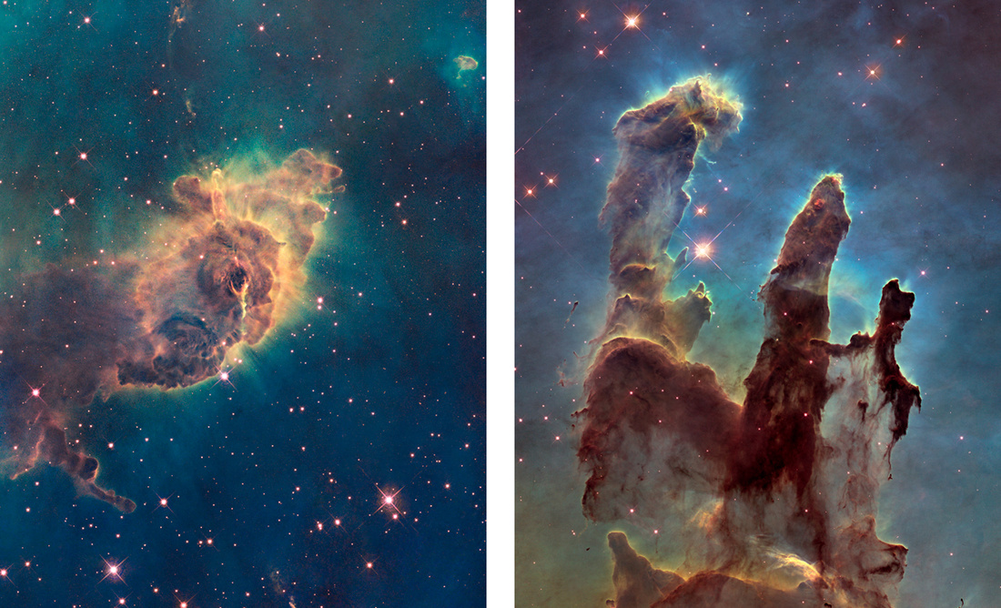 "Left: The Carina Nebula Pillar. Photo: NASA, ESA, and the Hubble SM4 ERO Team, via NASA; Right: The Eagle Nebula's ""Pillars of Creation."" Photo: NASA, ESA, and the Hubble Heritage Team (STScI/AURA), via NASA."
