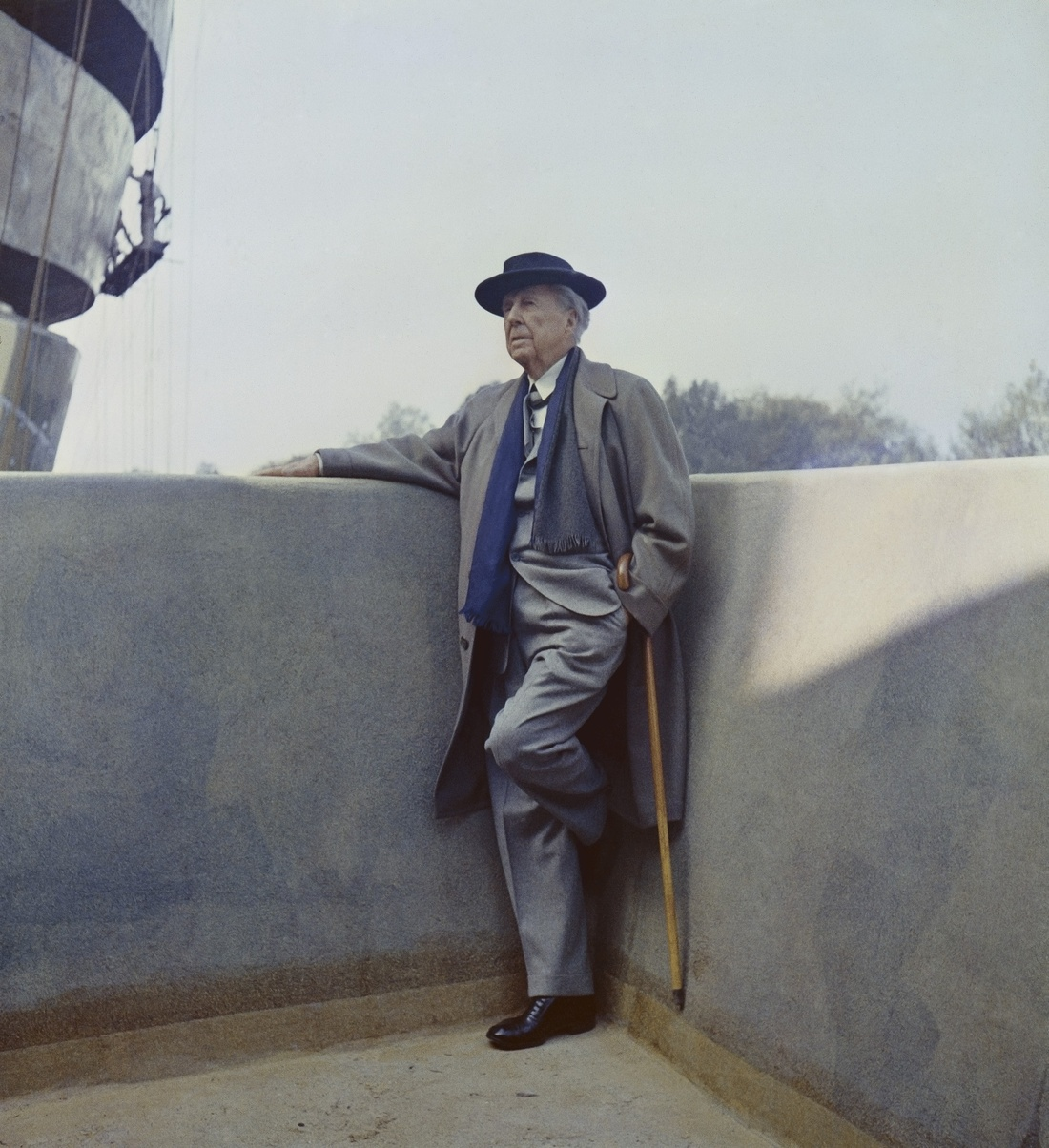 Frank Lloyd Wright on the balcony of the Solomon R. Guggenheim Museum during construction, 1959. Photo by William H. Short. Courtesy of Solomon R. Guggenheim Museum Archives. New York, NY.