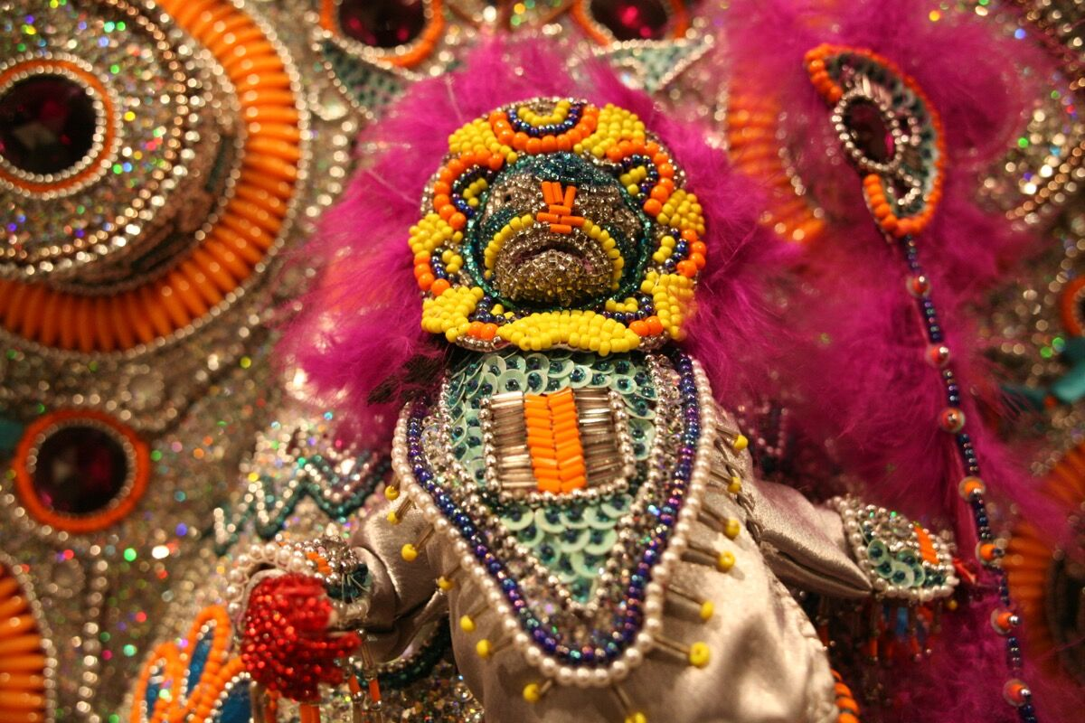 A detail of a Mardi Gras Indian costume by Darryl Montana, included as part of Prospect.4. Courtesy of the New Orleans Jazz Museum.