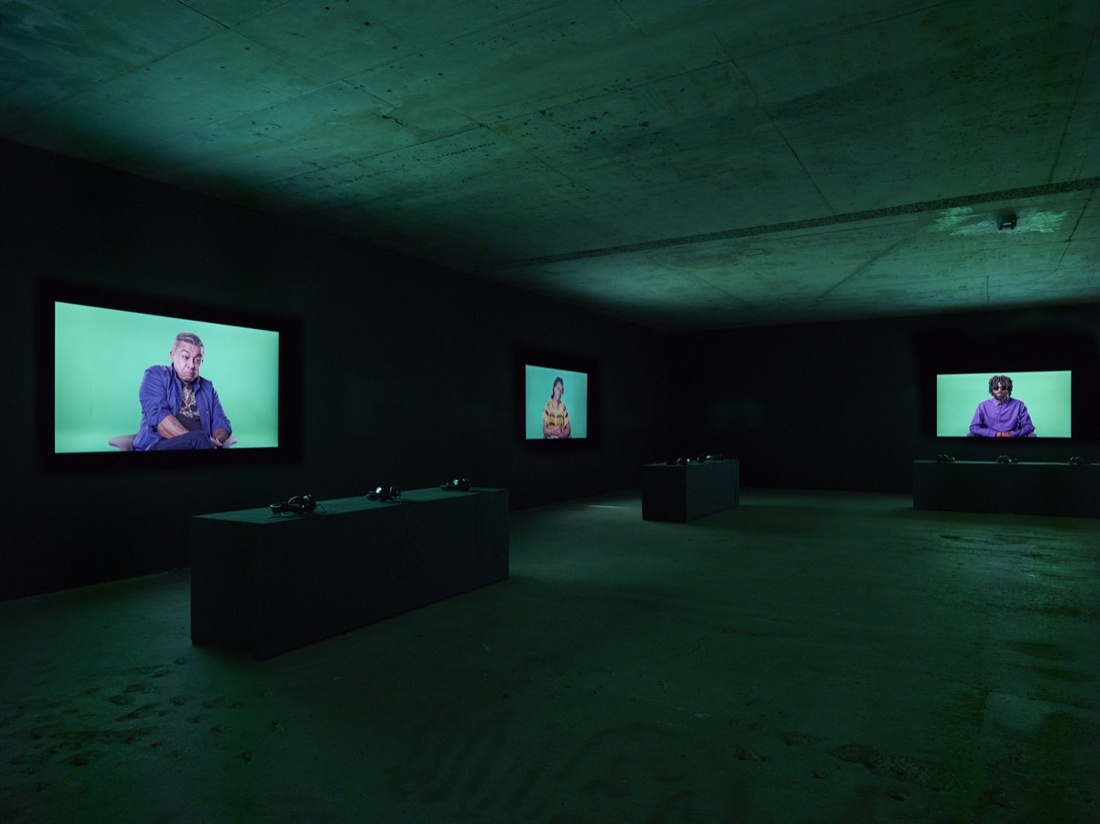 Installation view of Candice Breitz, Love Story, 2016. Commissioned by National Gallery of Victoria, Outset Germany, and Medienboard Berlin-Brandenburg. Courtesy of Candice Breitz and KOW, Berlin. Photo by Ladislav Zajac / KOW.