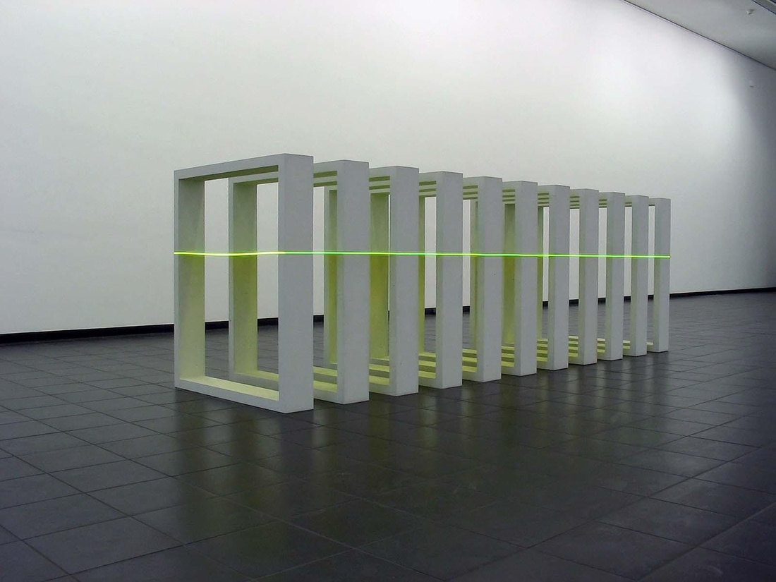"Annette Sauermann, Lichtraum (""Light Space""), 2011Cast grey concrete and Plexiglas, 46 x 39.3 x 118 inches.Courtesy C. Grimaldis Gallery and the artist."