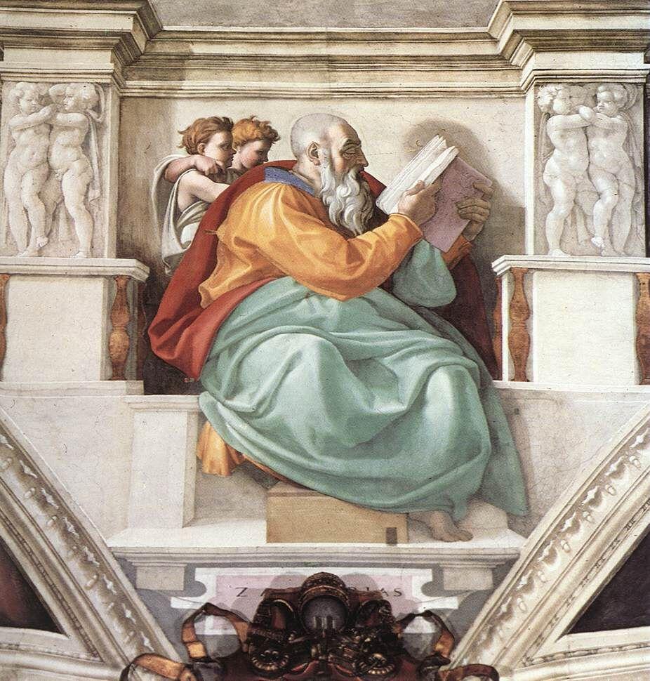 Detail of Michelangelo, The Sistine Chapel, 1508-12. Photo via Wikimedia Commons.
