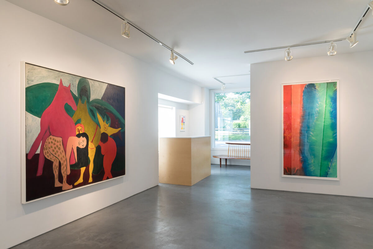 """Installation view of """"Color People"""" at Rental Gallery, with work by Bob Thompson, The Golden Ass, 1963. © Estate of Bob Thompson. Courtesy of Michael Rosenfeld Gallery LLC, New York, NY. Photo courtesy of Rental Gallery."""