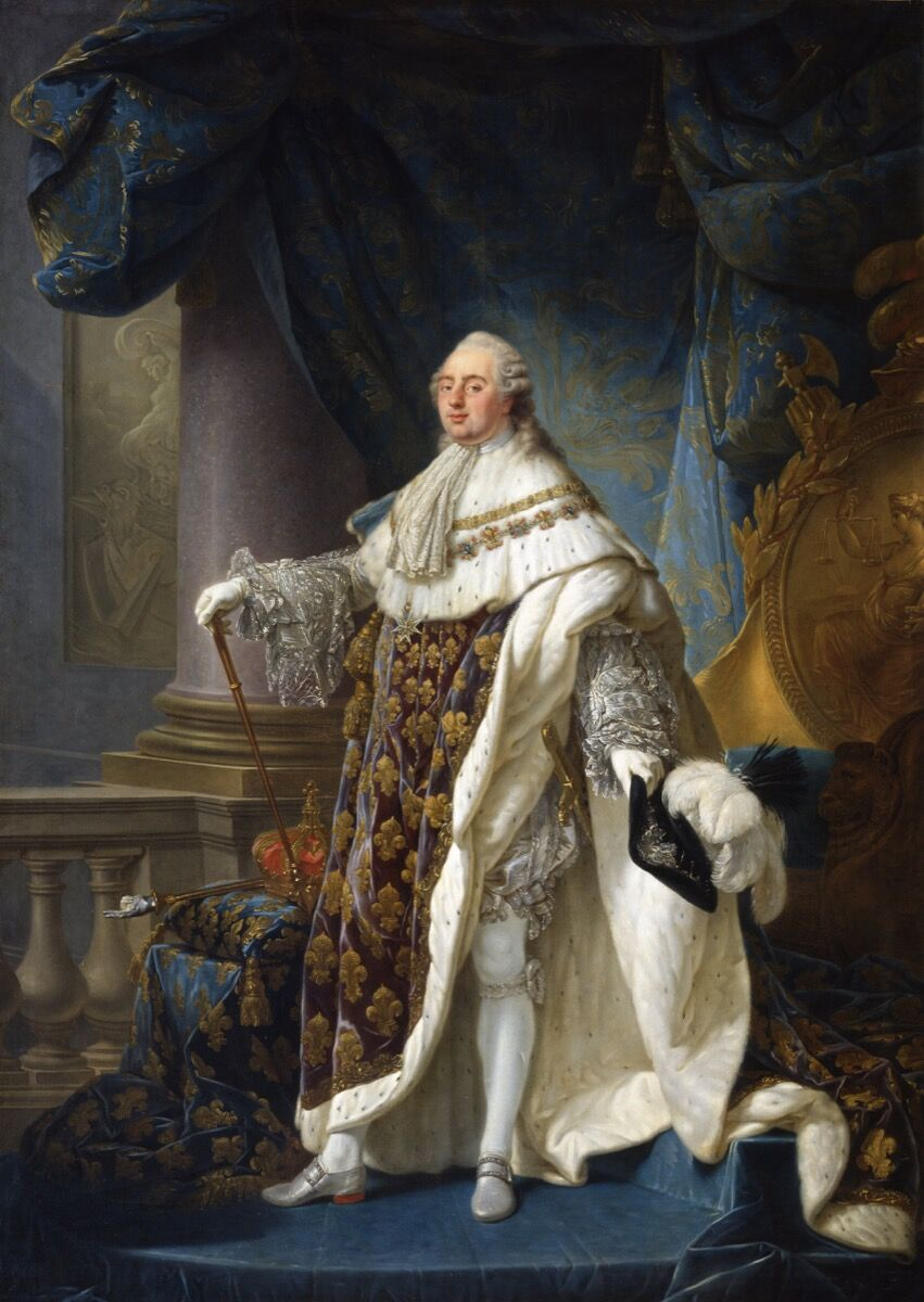 Antoine-François Callet, Louis XVI, King of France and Navarre (1754-1793), wearing his grand royal costume in 1779, 1789. Photo via Wikimedia Commons.