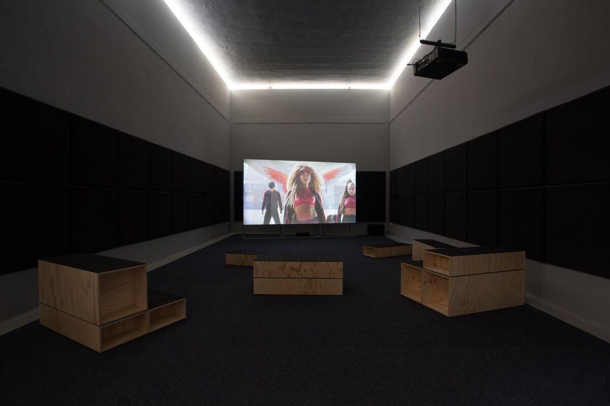 "Installation view of Bárbara Wagner and Benjamin de Burca, ""Swinguerra,"" for the Brazil Pavilion at the 58th Venice Biennale, 2019. Photo by Riccardo Tosetto. Courtesy of Fundação Bienal de São Paulo."