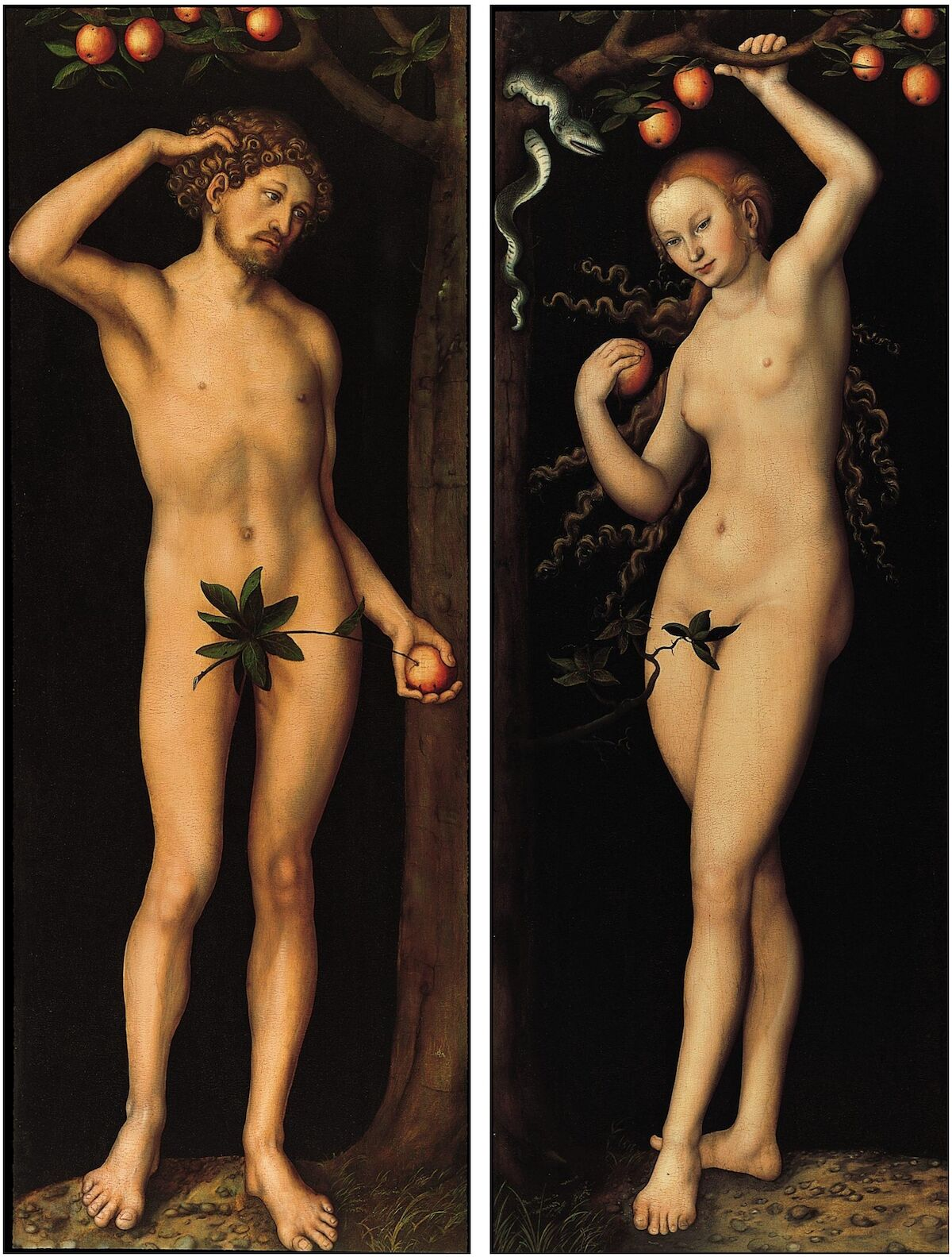 Lucas Cranach the Elder, Adam and Eve, circa 1530. Courtesy the Norton Simon Art Foundation, via Wikimedia Commons.