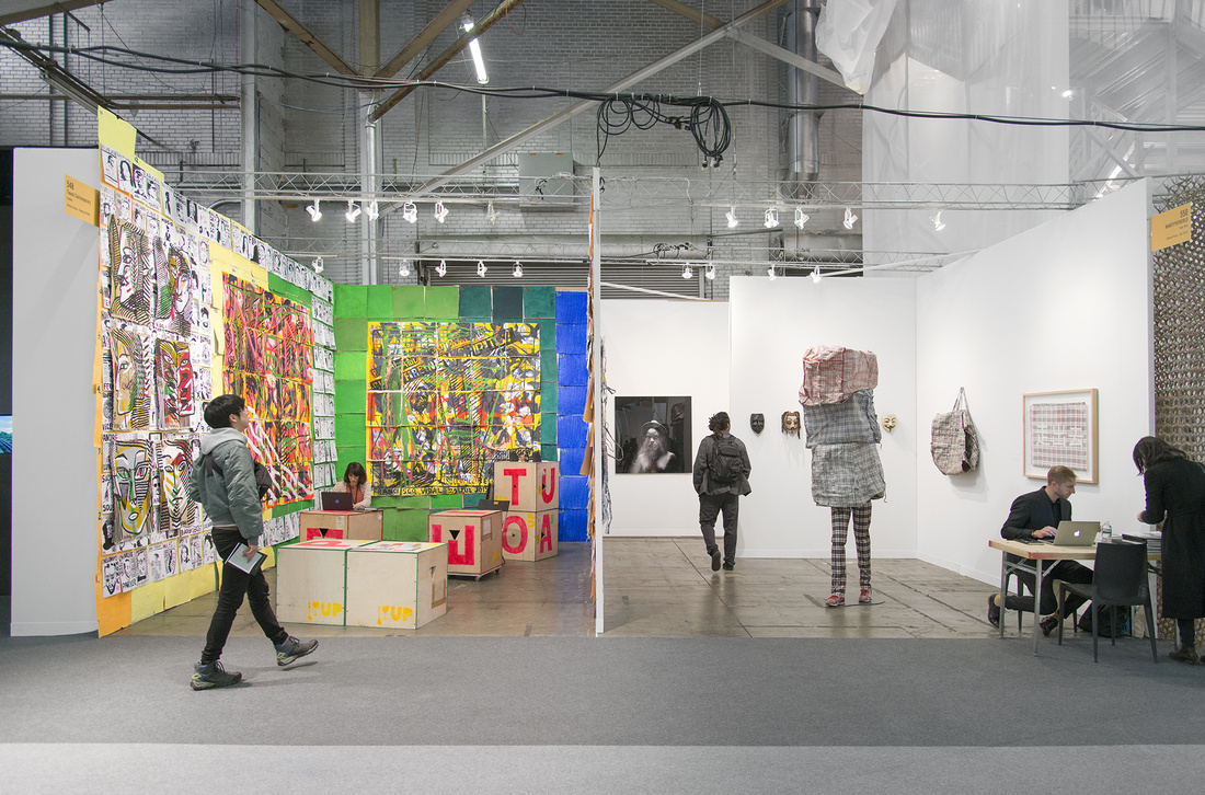 Installation view Tiwani Contemporary's booth and WHATIFTHEWORLD's booth at The Armory Show, 2016. Photo by Adam Reich for Artsy.