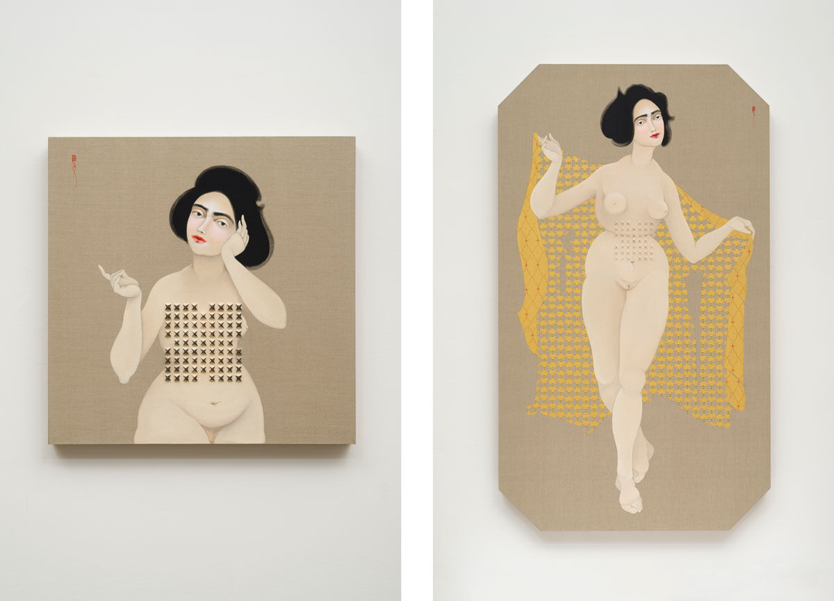 Left: Hayv Kahraman, Shield 2, 2016. © Hayv Kahraman; Right: Hayv Kahraman, Concealed Weapon, 2016. © Hayv Kahraman. Images courtesy of the artist and Jack Shainman Gallery.