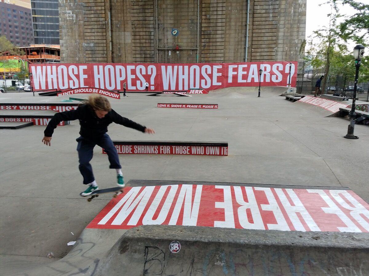 Barabara Kruger's installation at Coleman Skate Park.