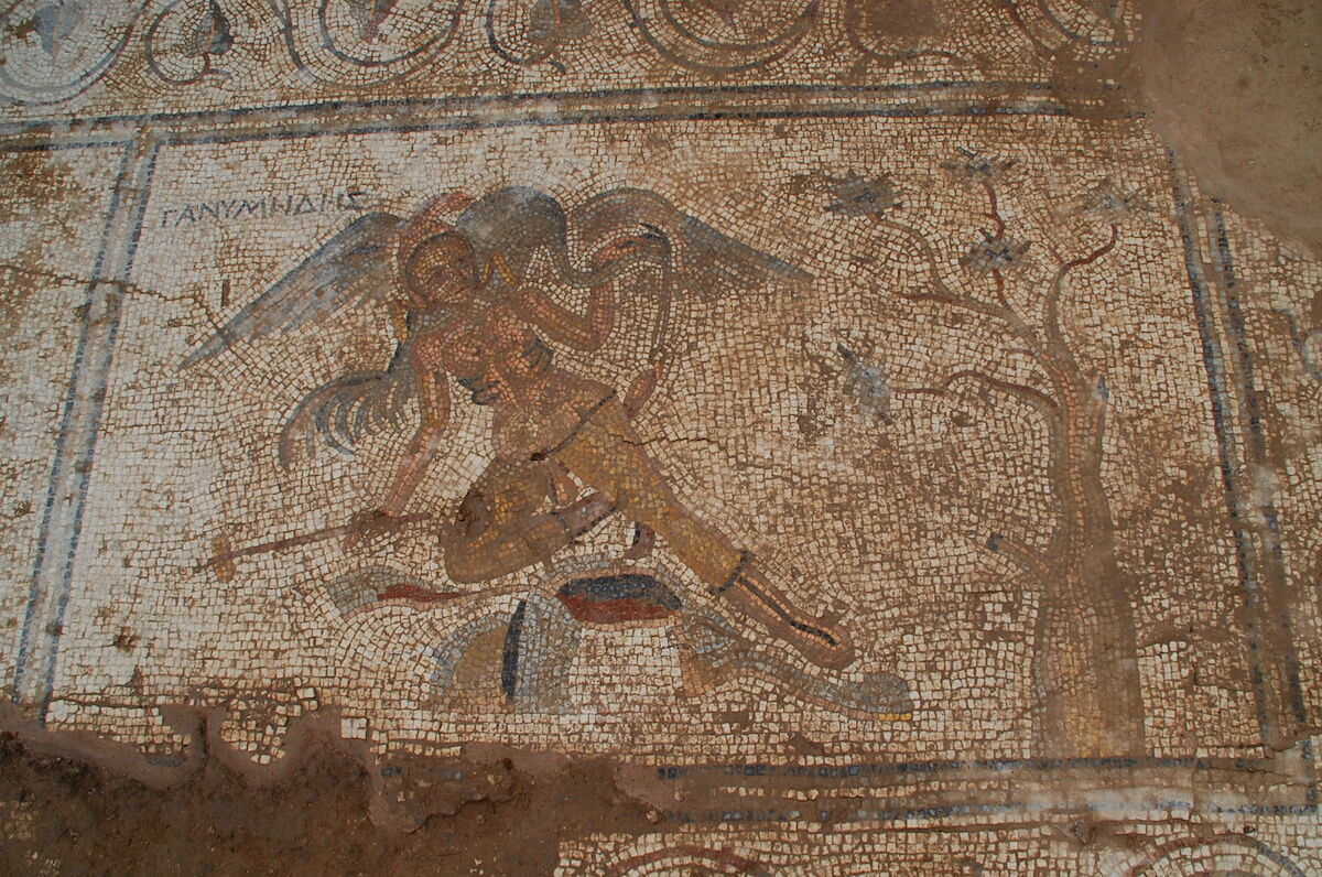 A second-century Roman mosaic shows Ganymede getting some hygiene help from a bird. Photo courtesy the Antiochia ad Cragum Archaeological Research Project.
