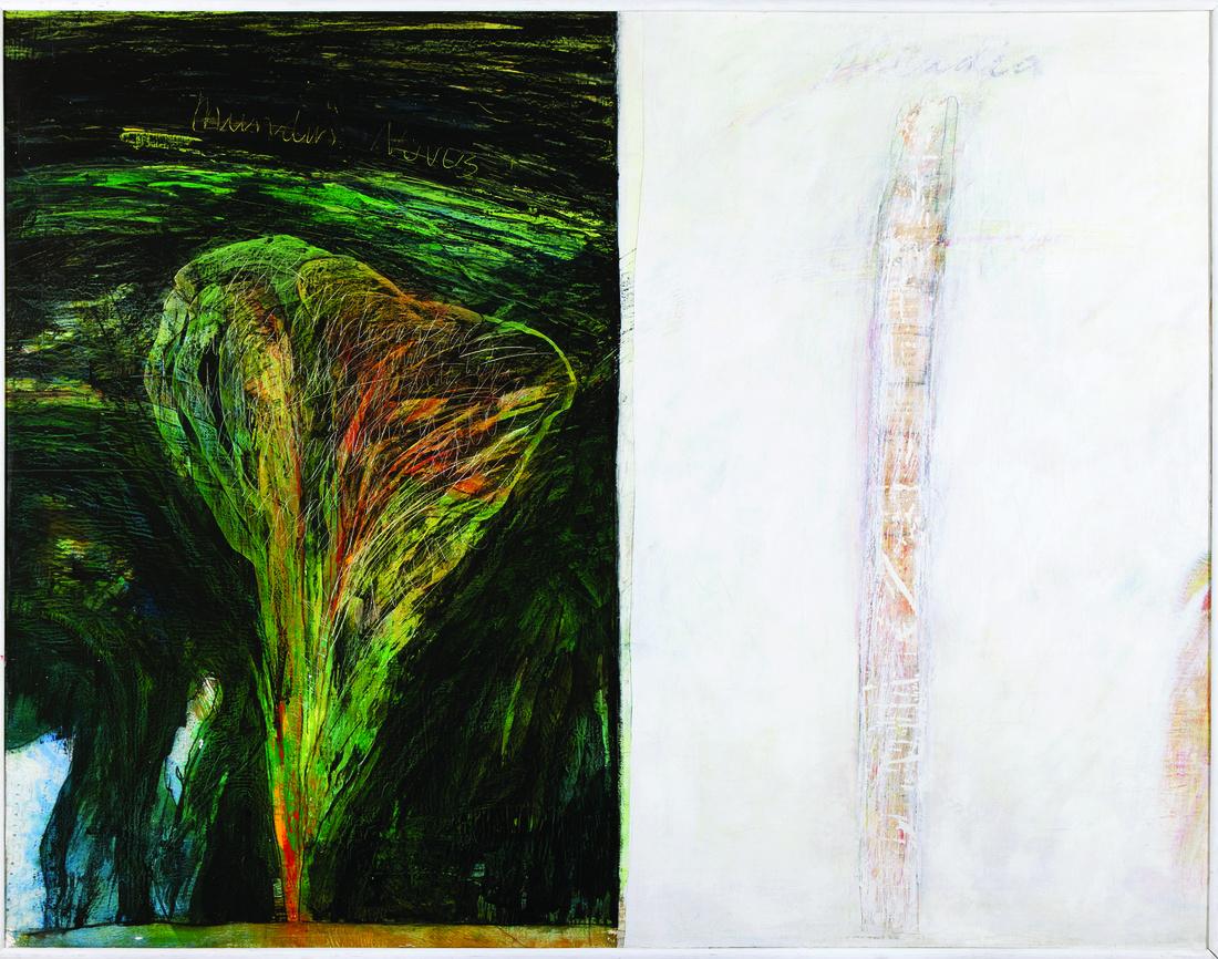 Eugenio Tellez, Novo Mondo, 1985; Mixed media on canvas, 155 x 221 cm. Courtesy of Aninat Isabel Galería.