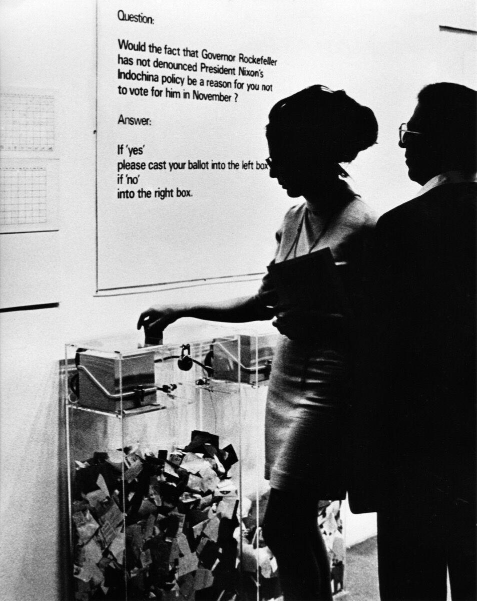 Hans Haacke, MOMA-Poll, 1970. © Hans Haacke and the Artists Rights Society (ARS). Courtesy of the artist.