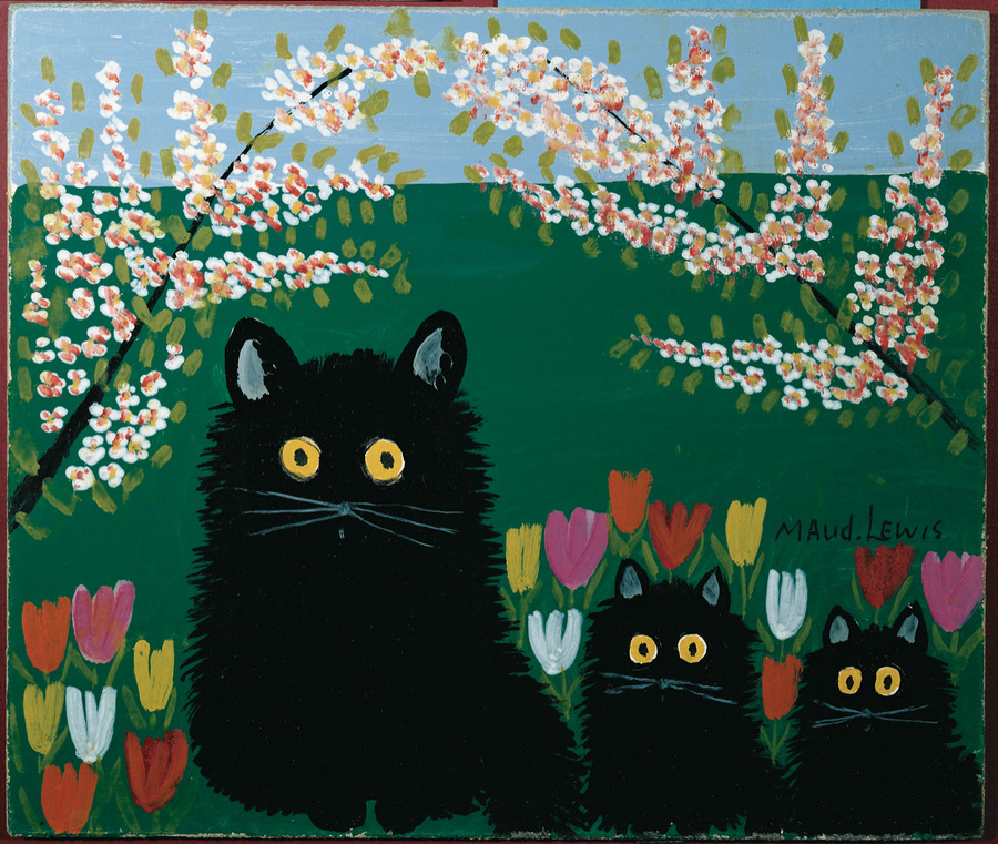 Maud Lewis, Three black cats, 1955. Courtesy of the Art Gallery of Nova Scotia.
