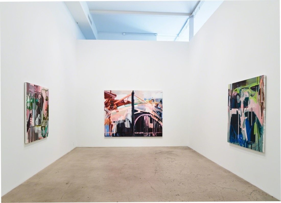 """Installation view of """"Sarah Awad: Gate Paintings,"""" courtesy of Diane Rosenstein."""