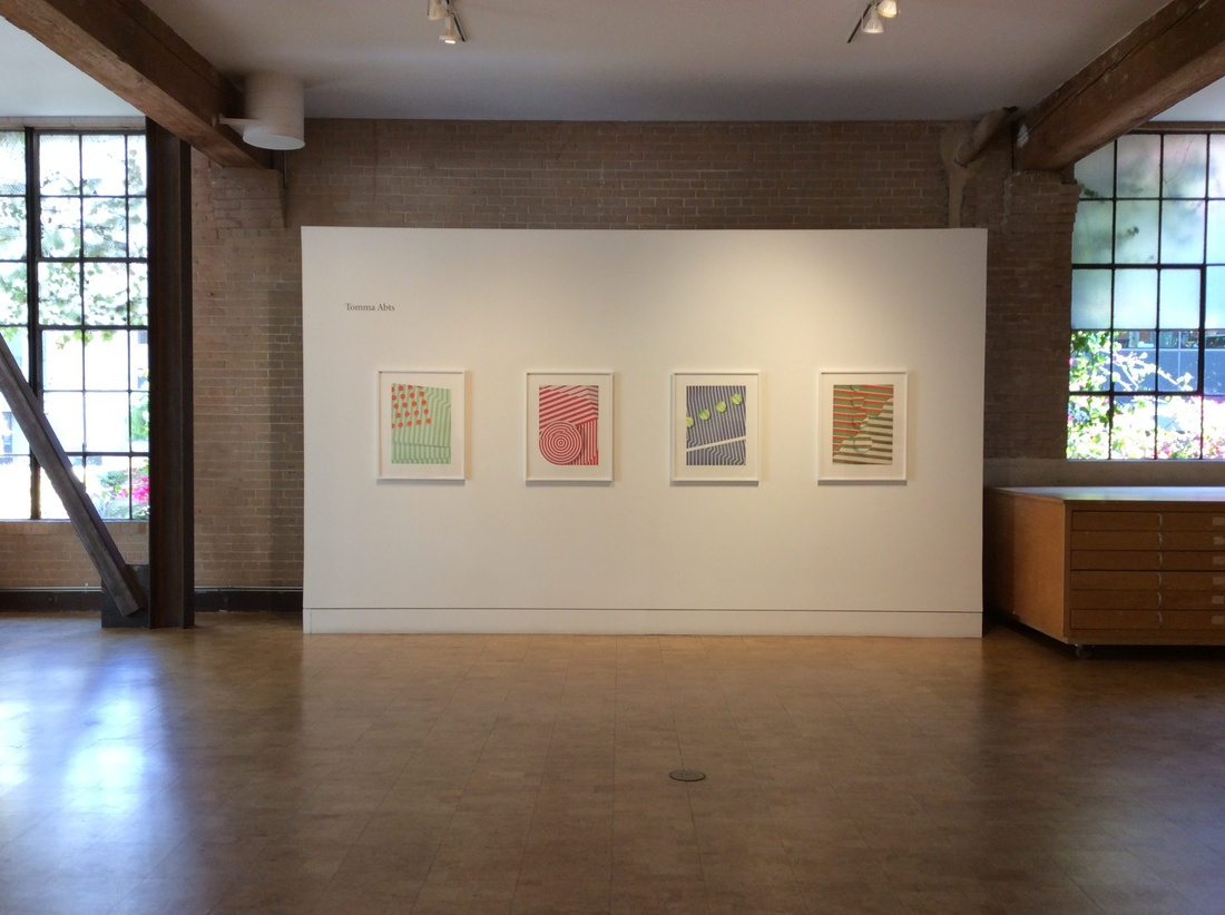 """Installation view of """"Tomma Abts: Four New Etchings"""" at Crown Point Press. Courtesy Crown Point Press and the artist."""