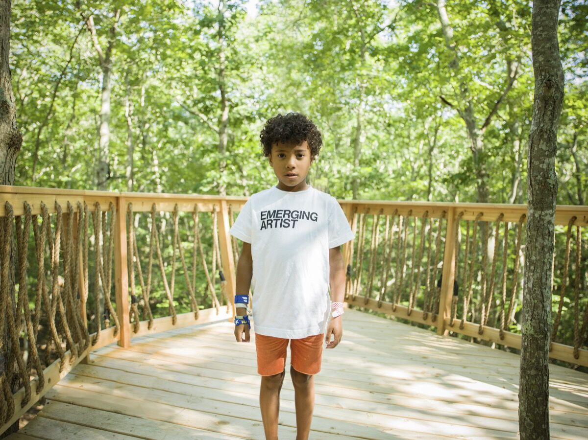 Portrait of Rashid Johnson and Sheree Hovsepian's son, Julius, at their Long Island home by Antony Crook for Artsy.