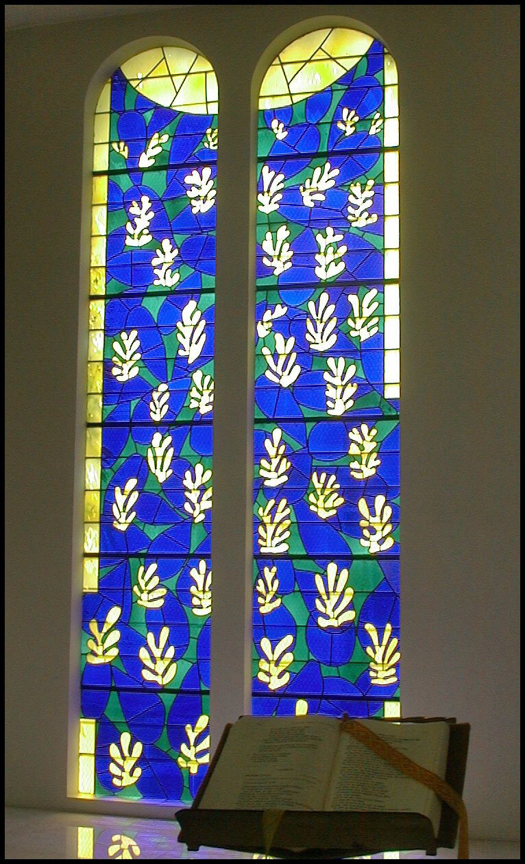 Stained glass by Henri Matisse at the Matisse Chapel. Photo by Monica Arellano-Ongpin, via Flickr.