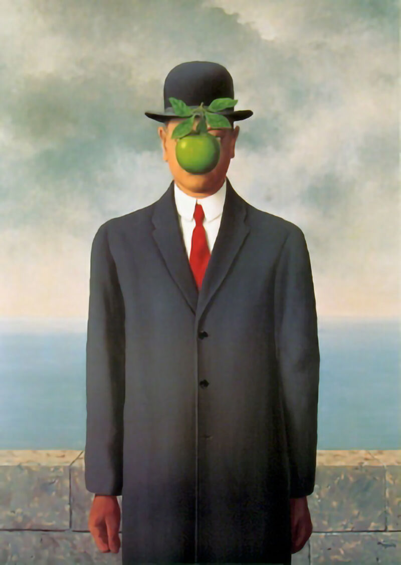 René Magritte, The Son of Man, 1964. Photo via Wikimedia Commons.