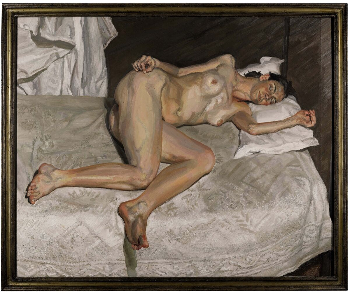 Lucian Freud, Portrait on a White Cover, 2002-3. Courtesy of Sotheby's.