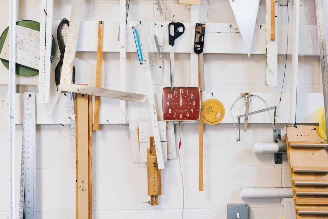 Detail of Kerry James Marshall's Bronzeville studio. Photo by Peter Hoffman for Artsy.