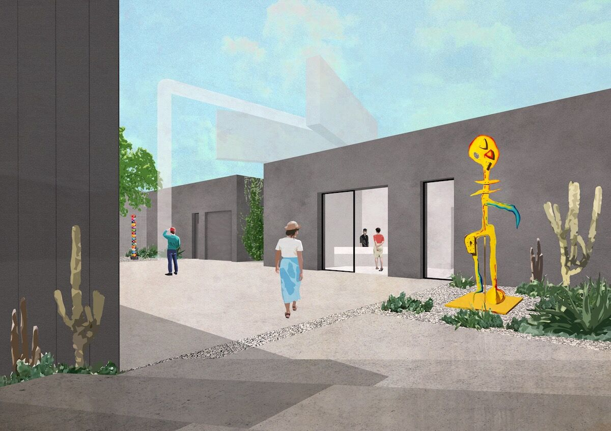 Stepped entrance to new courtyard and David Kordansky Gallery expansion. Rendering by wHY.
