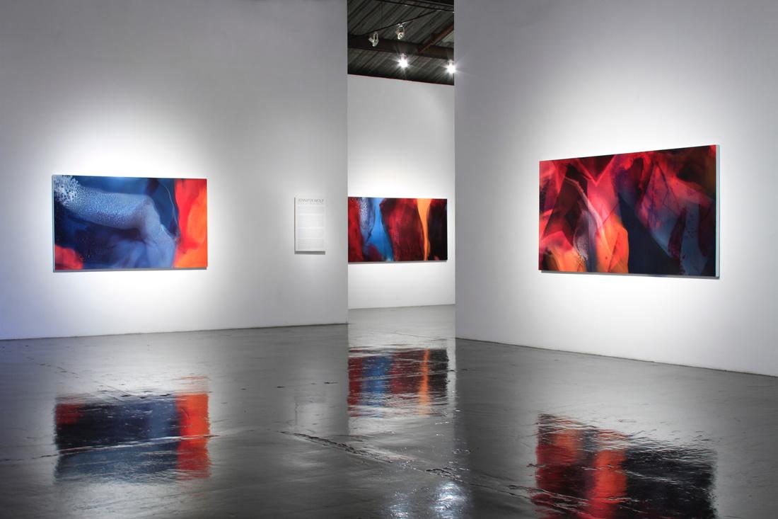 "Installation view of ""Jennifer Wolf: Edge of Miscibility"" at William Turner Gallery, Santa Monica. Courtesy William Turner Gallery and the artist."