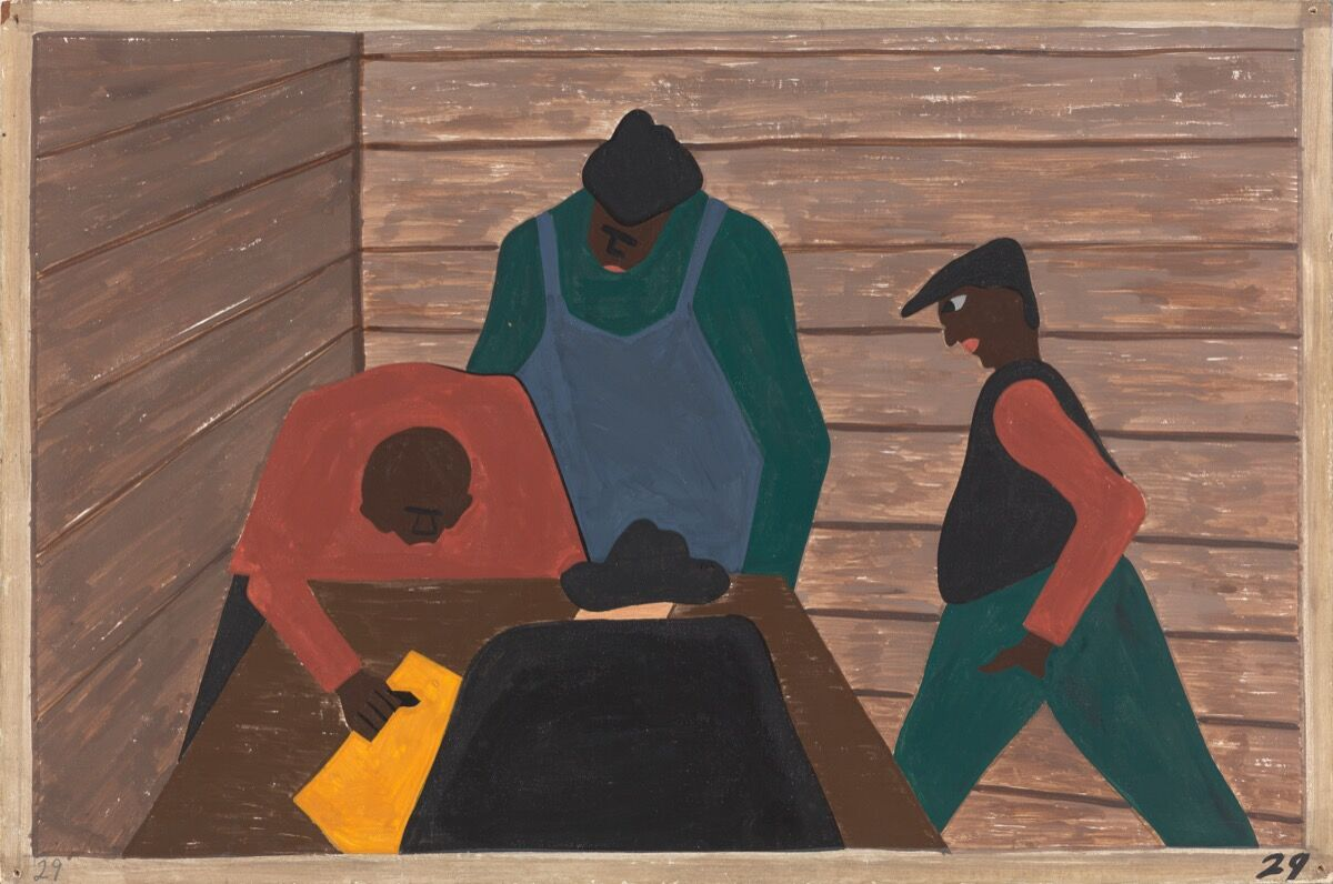Jacob Lawrence, The Migration Series, Panel no. 29: The labor agent recruited unsuspecting laborers as strike breakers for northern industries, 1940–1941. © The Jacob and Gwendolyn Lawrence Foundation, Seattle / Artists Rights Society (ARS), New York. Courtesy of The Philips Collection.