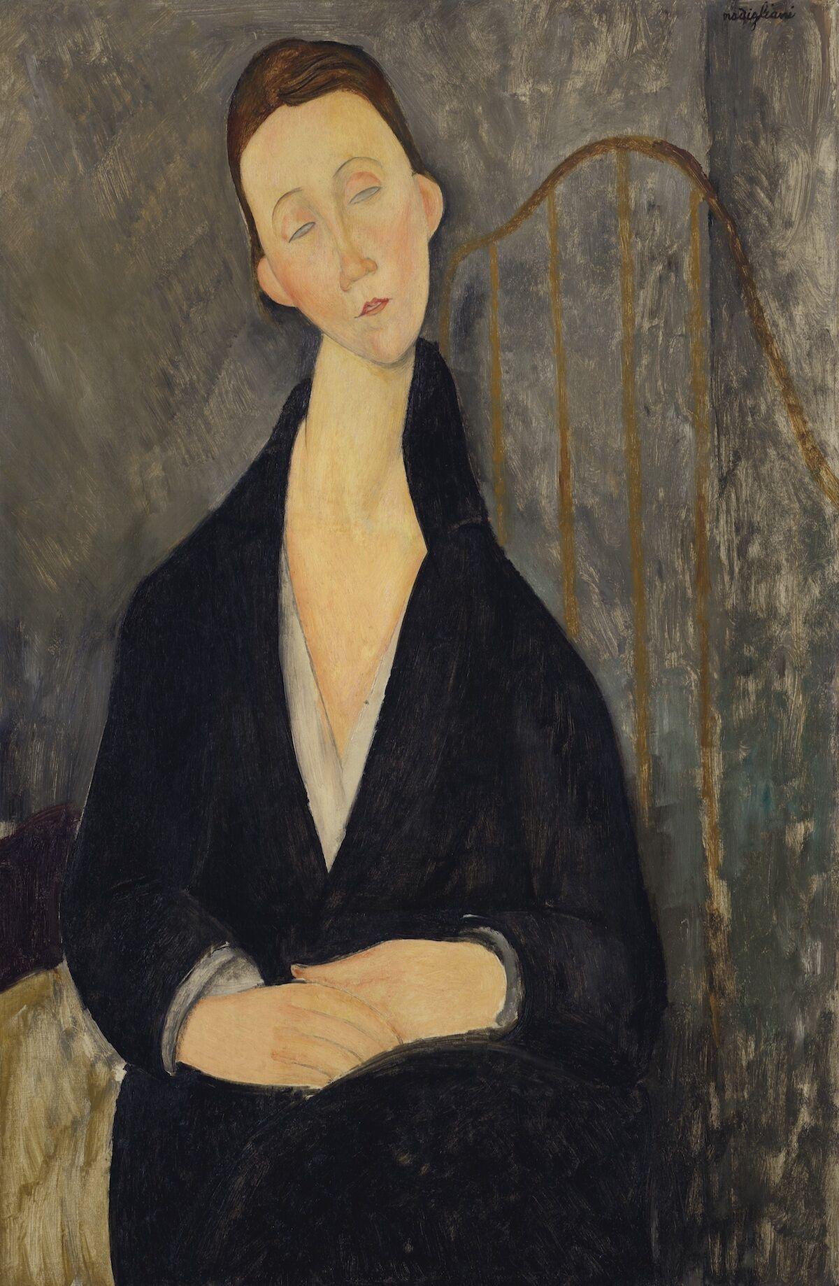 Amedeo Modigliani, Lunia Czechowska (à la robe noire), 1919, oil on canvas. Est. $12 million–$18 million. Courtesy Christie's.