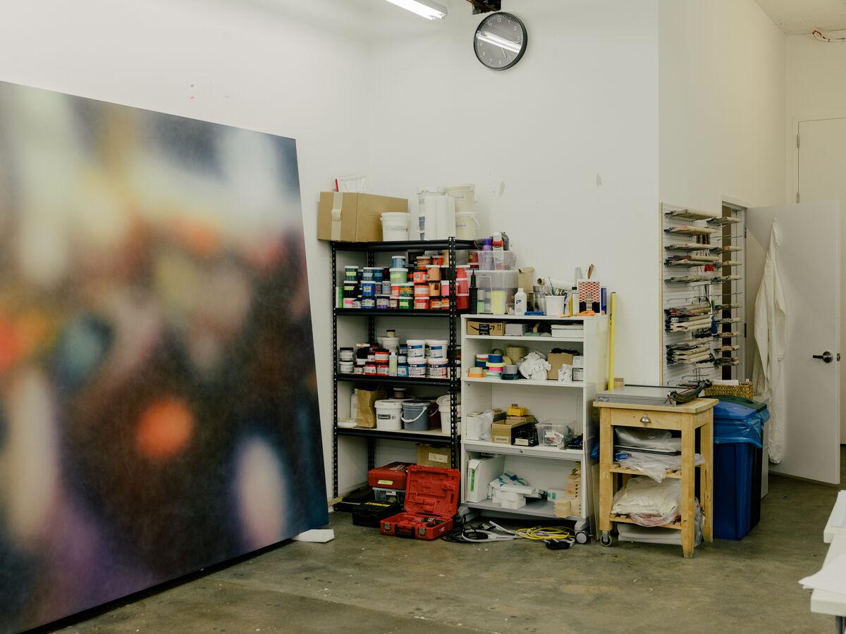 A work in progress in Julie Mehretu's Chelsea studio. Photo by Daniel Dorsa for Artsy.