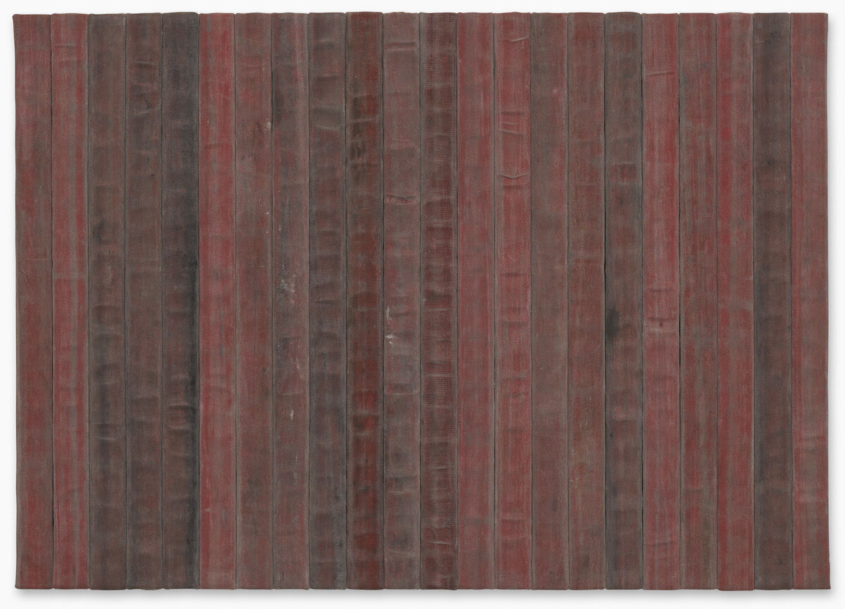 Theaster Gates, A Flag For The Least Of Them, 2018, decommissioned fire hose. Est. $450,000–500,000, sold for $807,000 at Sotheby's 2018 (RED) auction. Image courtesy Sotheby's.