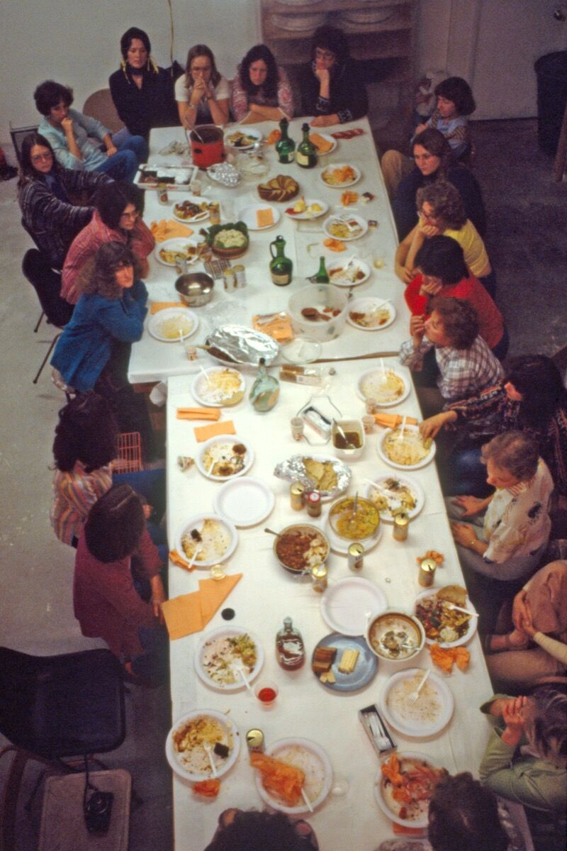 "Thursday Night Potluck with ""The Dinner Party"" Workers, 1978. Courtesy of Through the Flower Archive"