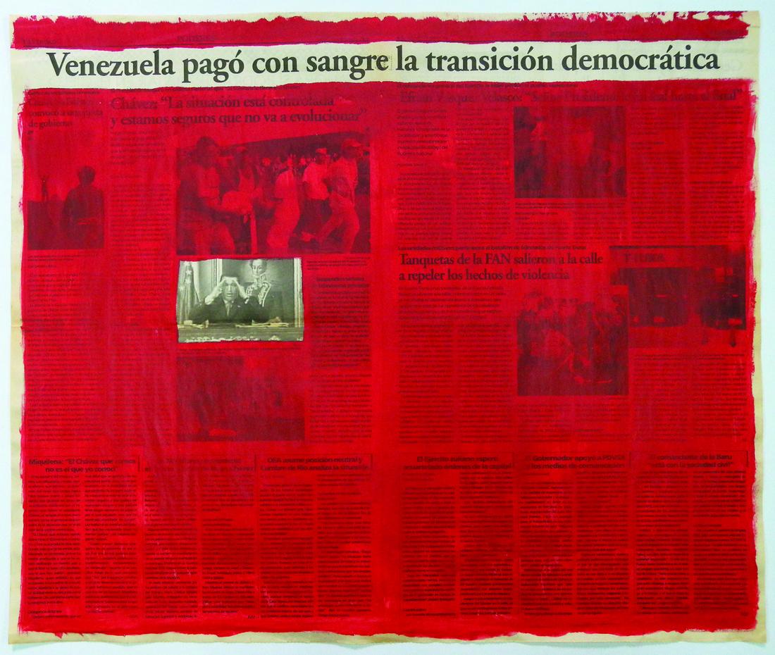 Marco Montiel-Soto, Serie La verdad no es noticia, 2016; Acrylics on newspaper, 57.5 x 68.5 cm. Courtesy of Gallery Carmen Araujo Arte.