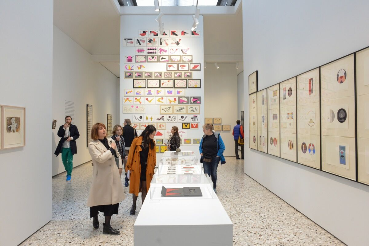 "Installation view of Geta Brătescu ""Apparitions,"" for the Romanian Pavilion at the 57th Venice Biennale, 2017. Photo by Casey Kelbaugh for Artsy."