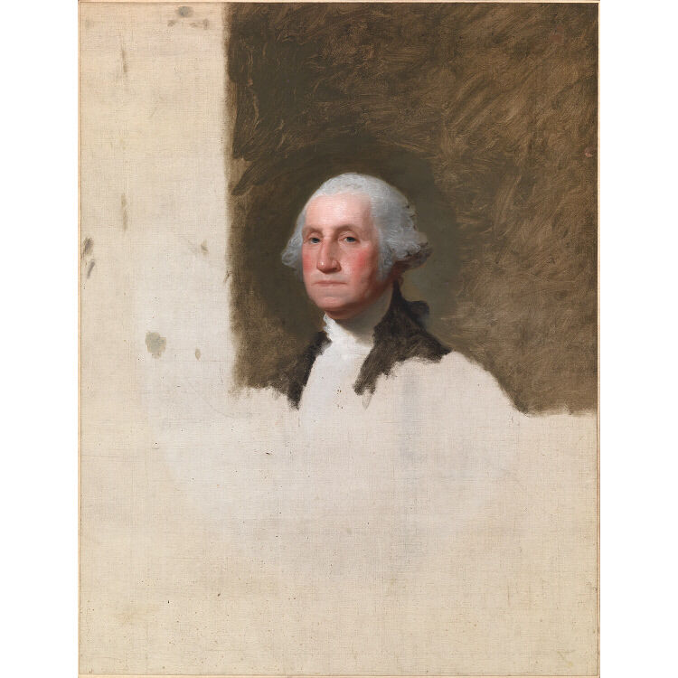 Gilbert Stuart, George Washington (The Athenaeum Portrait), 1796. Via the National Portrait Gallery, Smithsonian Institution; owned jointly with Museum of Fine Arts, Boston.