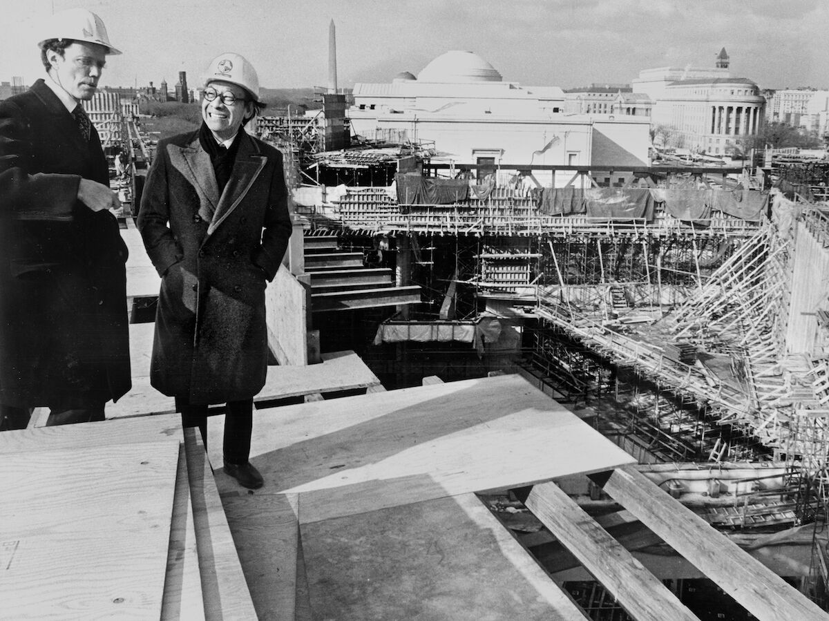 National Gallery Director J. Carter Brown with I. M. Pei on the roof of the new East Building during its construction. Photo by Ellisworth Davisy/The Washington Post via Getty Images.