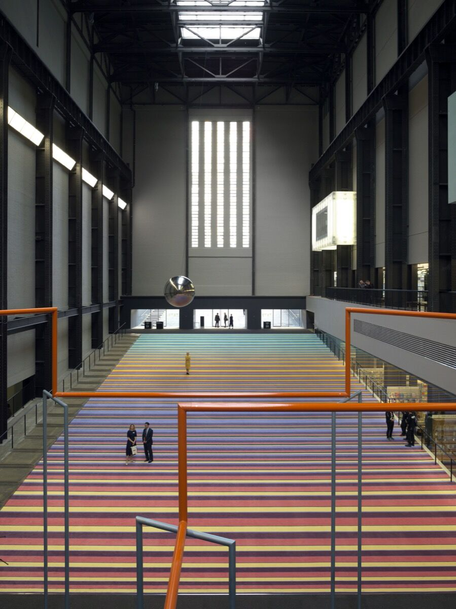 Installation shot of Hyundai Commission: SUPERFLEX One Two Three Swing! Courtesy of Tate Modern.