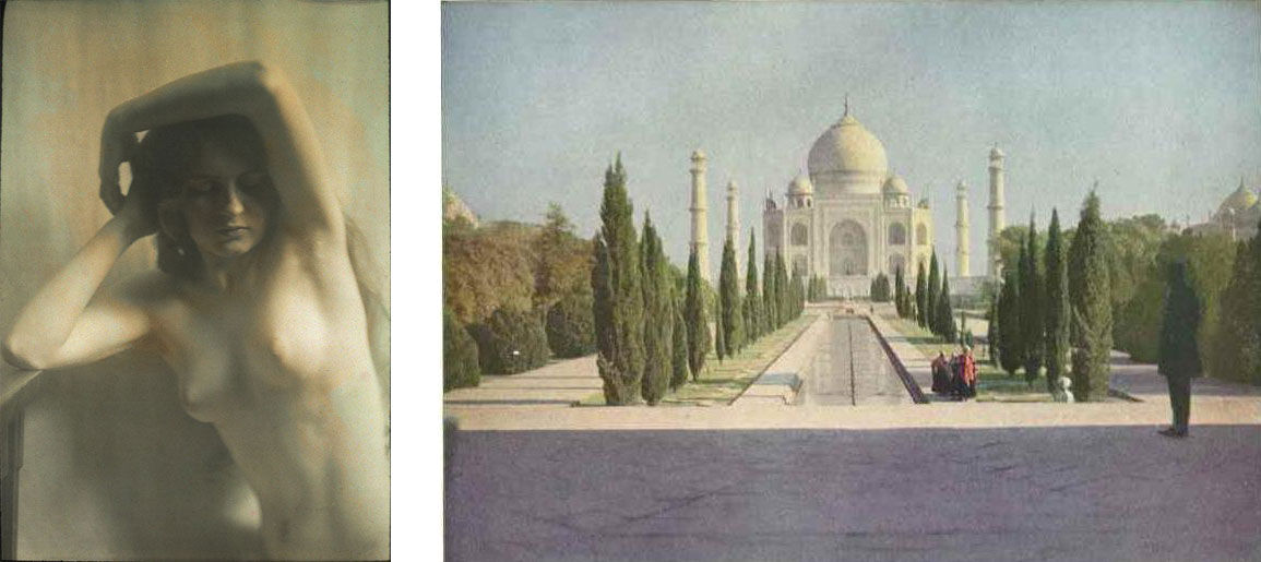 Left: Arnold Genthe, Nude study, between 1911 and 1942; Right: Helen Messinger Murdoch, The Taj Mahal at Agra, India, in the early morning light, 1921. Images via Wikimedia Commons.