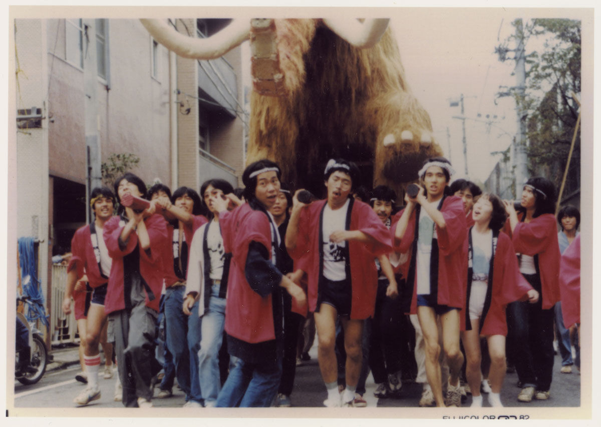Mammoth sculpture by Murakami and classmates pictured during a parade in the early 1980s. ©︎ Takashi Murakami/Kaikai Kiki Co., Ltd. All Rights Reserved. Courtesy of Gagosian.