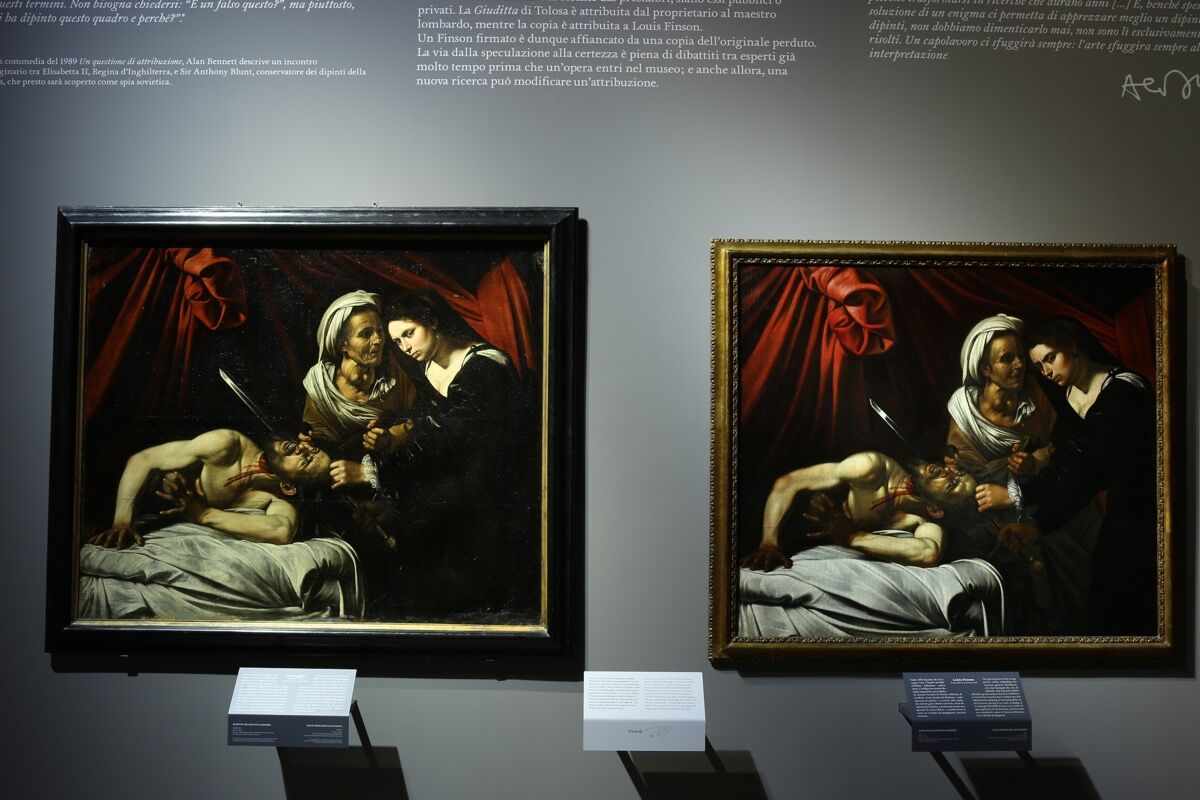 "Installation view of Third dialogue, ""Caravaggio. A question of Attribution."" Image courtesy of Pinacoteca di Brera."