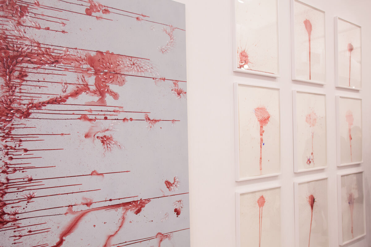 Work by Imran Qureshi at Corvi-Mora, Independent 2015. Photo by Nick Simmons for Artsy