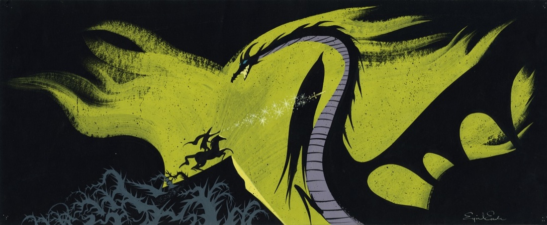 Eyvind Earle, Concept painting, c. 1959, Sleeping Beauty, 1959. Collection of the Walt Disney Family Foundation. © Disney. Courtesy of the Walt Disney Family Museum.