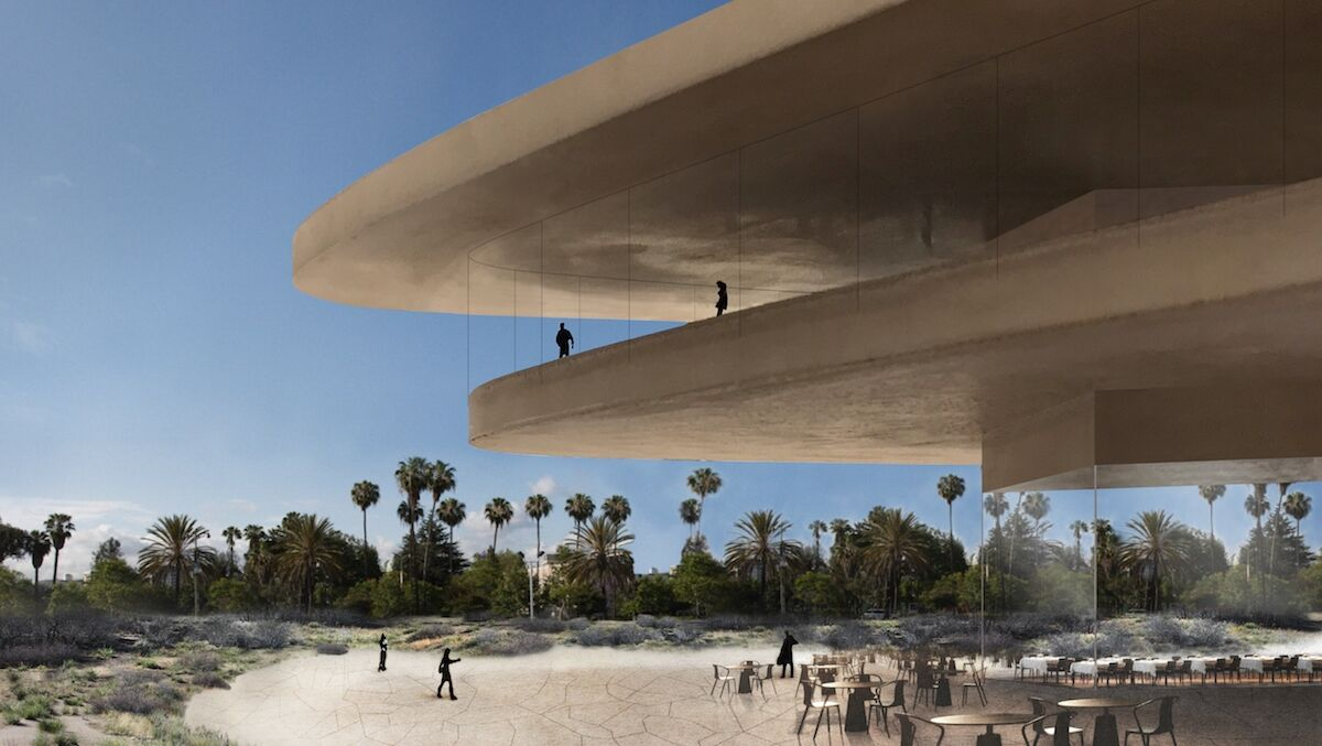 Conceptual image of the new LACMA building from park. Courtesy Atelier Peter Zumthor & Partner.