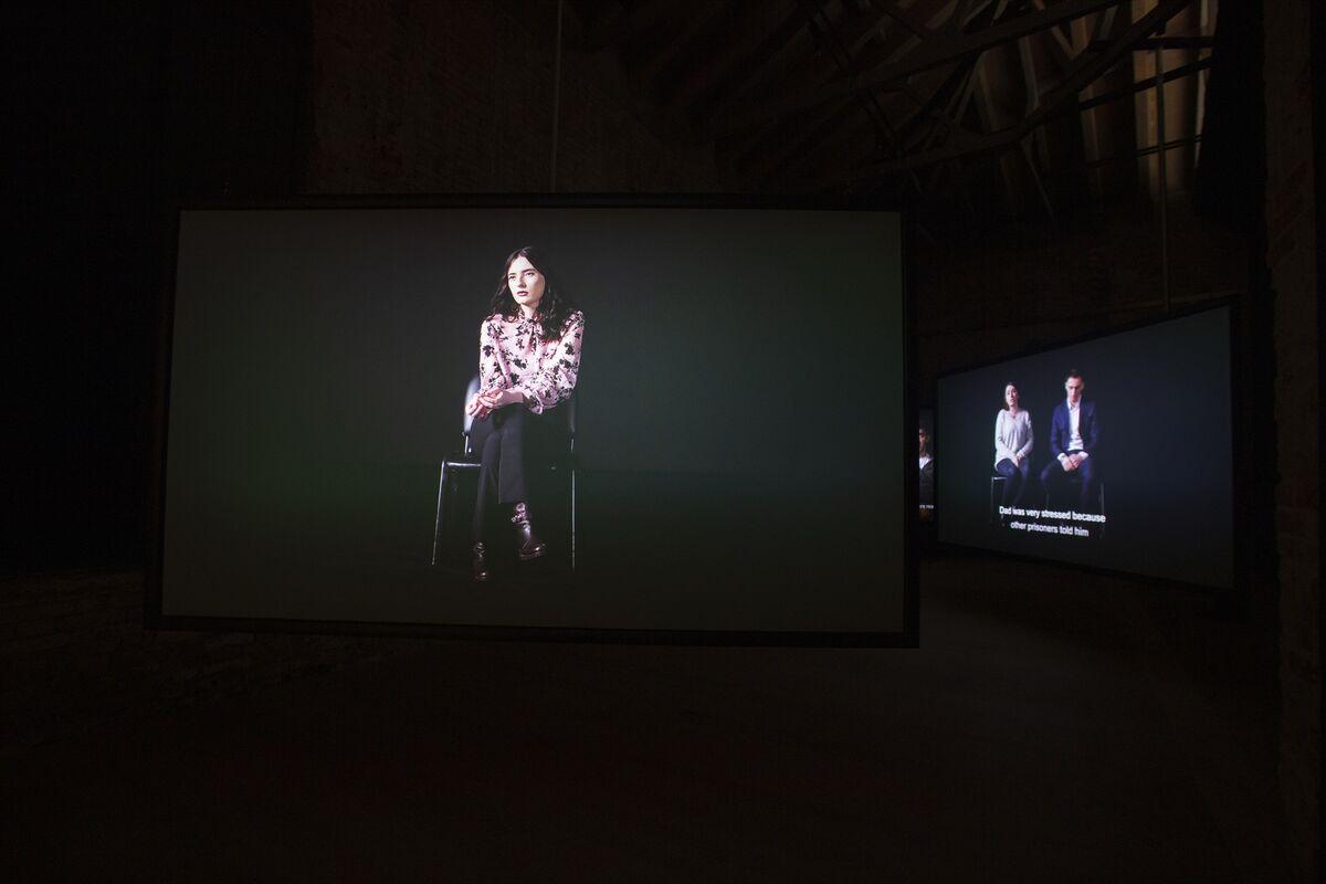 """Installation view of Alban Muja, """"Family Album,"""" for the Kosovo Pavilion at the 58th Venice Biennale, 2019. Photo by Italo Rondinella. Courtesy of La Biennale di Venezia."""