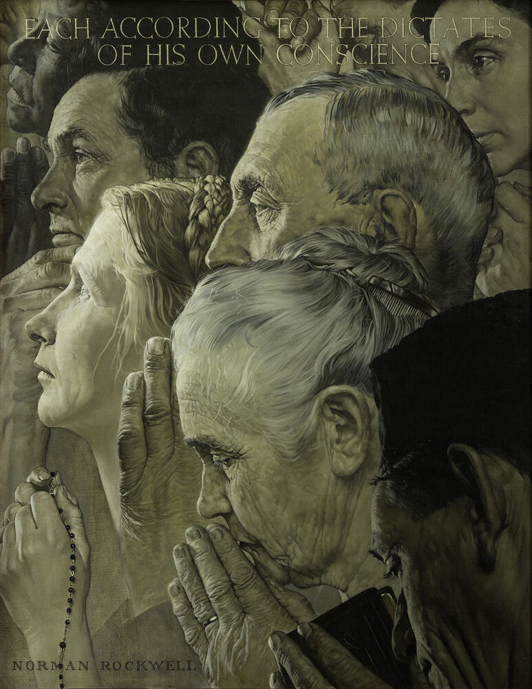 """Norman Rockwell, Freedom of Worship, from the """"Four Freedoms"""" series, 1943. Story illustration for The Saturday Evening Post, February 27, 1943. © SEPS: Curtis Licensing, Indianapolis, IN. Courtesy of the Norman Rockwell Museum and the New York Historical Society Museum & Library."""