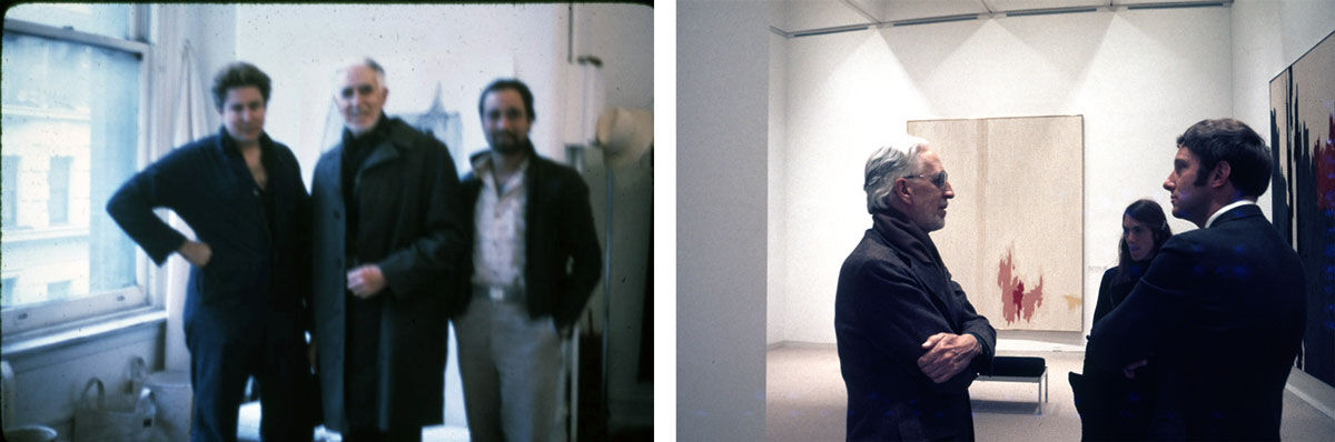Left: An undated photo of Julian Schnabel, Clyfford Still, and Ross Bleckner in New York City, ca. 1980. Unknown photographer; Right: Clyfford Still at the Hirshhorn Museum and Sculpture Garden in 1974, pictured with PH-847, 1953. Unknown photographer. Images courtesy of the Clyfford Still Museum Archives.